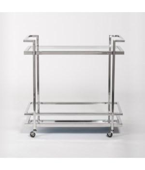 Brentwood Bar Cart, Polished Chrome