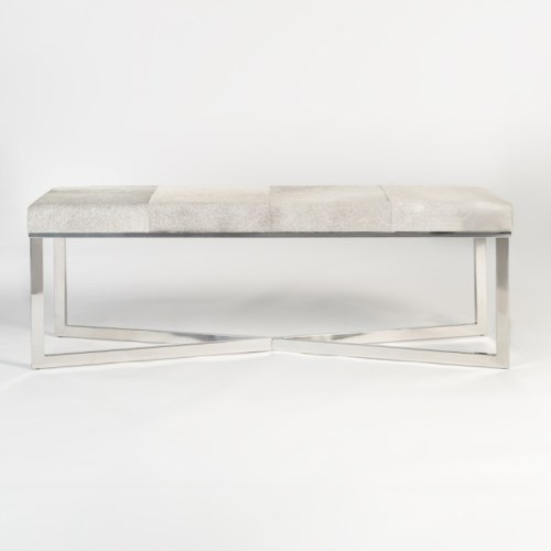 Scottsdale Bench, Frosted Hide, Polished Chrome