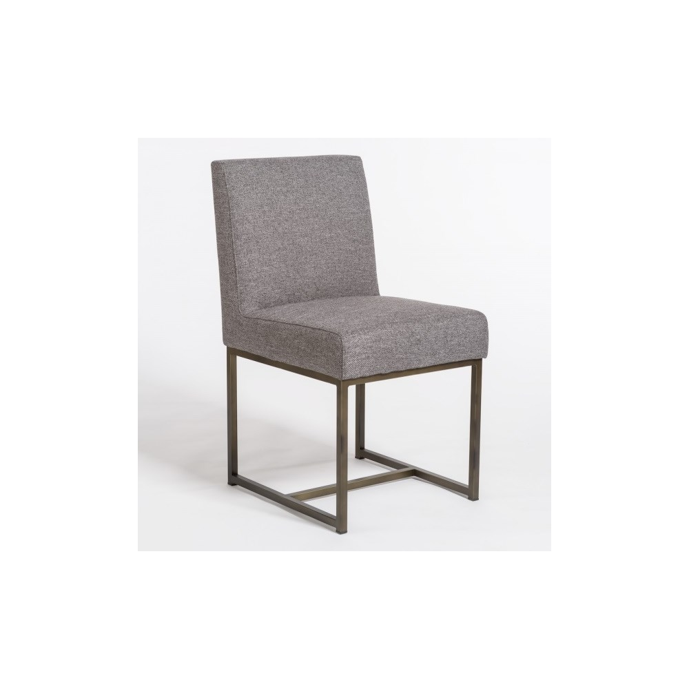 Griffin Dining Chair, Textured Concrete, Aged Bronze
