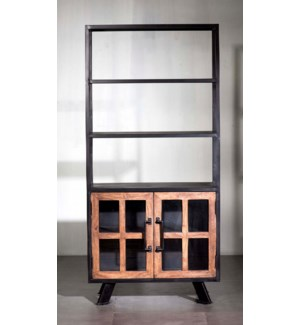 Roma Triple Shelf, Double Cabinet Bookshelf