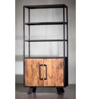 Roma Solid Wood Door, Triple Shelf Bookshelf