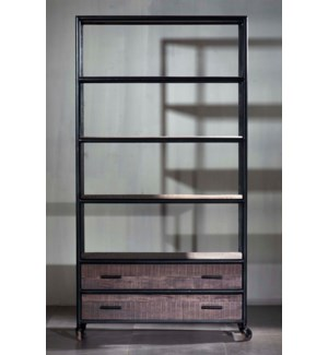Euro Gray Double 4 shelf, 2 drawer Bookshelf