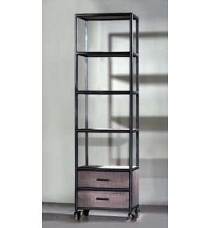Euro Gray Single 4 shelf, 2 drawer bookshelf