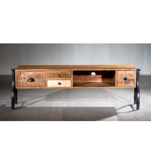 Industrial Mosaic 4 Drawer, 1 Shelf Media Console