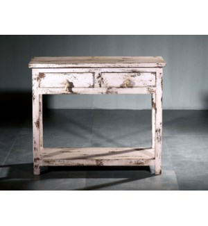 Shutter Wood 2 Drawer Accent Table