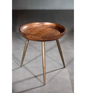 Wood Iron Tripod Side Table