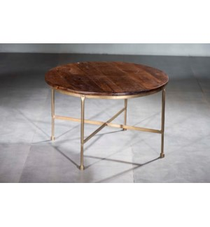 Wood Iron Round Cocktail Table