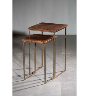 Wood Iron Nesting Square Nesting Tables