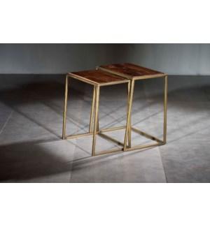 Wood Iron Rectangle Nesting Table Set