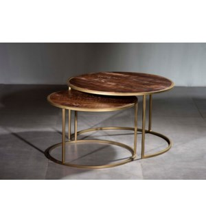 Wooden Iron Table Set of 2 Pcs