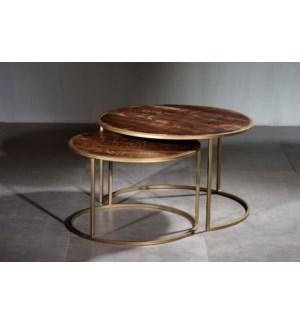 Wooden Iron Table Set of 2 Pcs