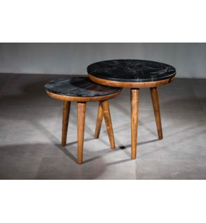 Pablo Black Marble Nesting Tables Set 2