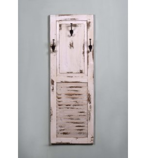 Louvre Panel Coat Rack White Wash