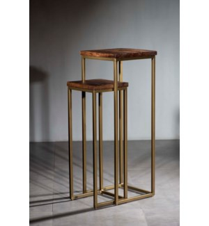 Wood  Iron Set 2 Pedestals