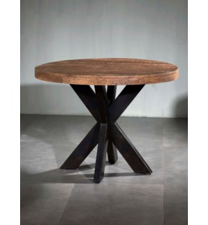 Wooden Iron Dining Table Round X Base