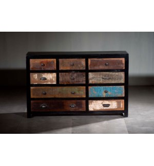 Black Reclaimed Mosaic Chest 10 Drawers