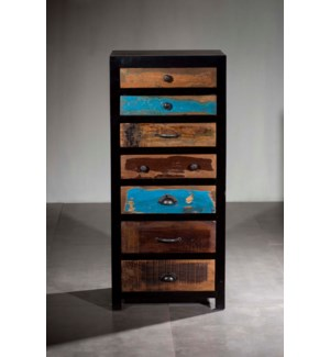 Black Reclaimed Mosaic Tall Chest