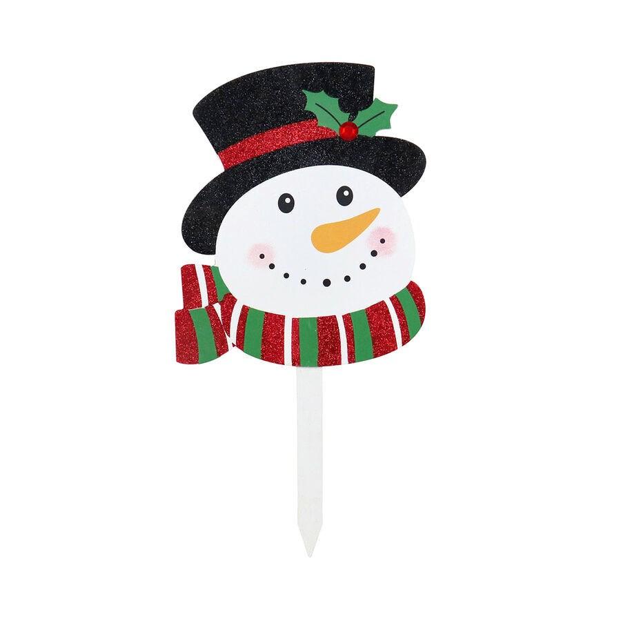 WOOD SNOWMAN W/HAT LAWN STAKE CS. PK.: 12