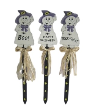 3 ASST. PURPLE GHOST LAWN STAKE CS. PK.: 24