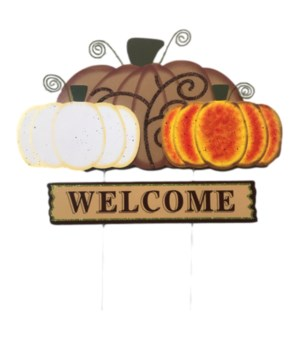 WOOD FALL TRIPLE WELCOME PUMPKIN YARD ART CS. PK.: 12