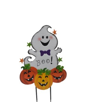 BOO GHOST WITH PUMPKINS YARD ART CS. PK.: 6