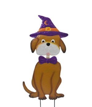 DOG WITH WITCH HAT YARD ART CS. PK.: 12