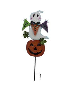 TIN GHOST ON PUMPKIN STAKE CS. PK.: 12