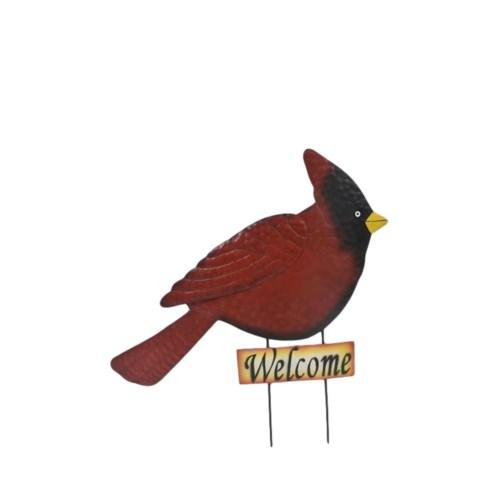 TIN WELCOME CARDINAL YARD ART CS. PK.: 12