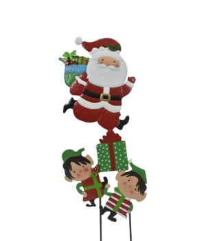 TIN SANTA W/ELVES YARD ART CS. PK.: 6