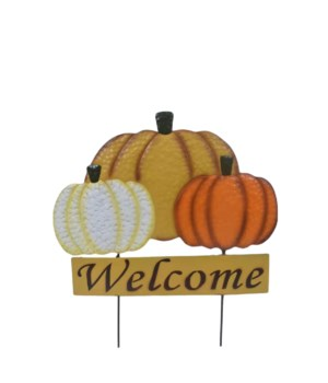TIN FALL TRIPLE PUMPKIN WELCOME YARD ART CS. PK.: 6