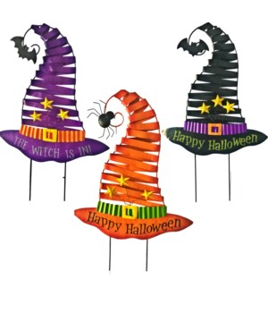 TIN WITCH HAT CUT OUT YARD ART 3 ASST. CS. PK.: 12