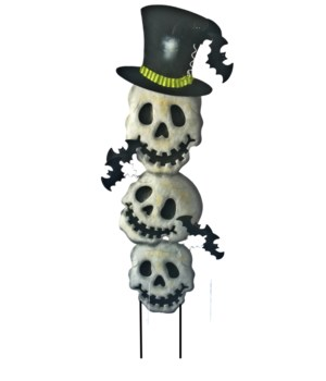 TIN STACKED TRIPLE SKULL YARD ART CS. PK.: 12