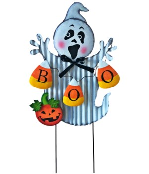 TIN GHOST WITH BOO YARD ART CS. PK.: 12