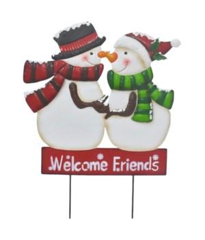 SNOWMAN WELCOME COUPLE YARD ART CS. PK.: 12