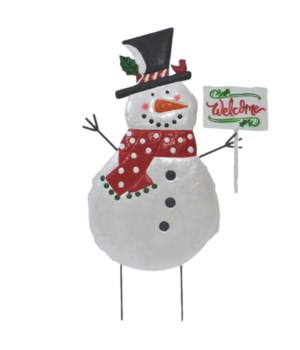TIN SNOWMAN WITH SCARF & WELCOME SIGN YARD ART CS. PK.: 6
