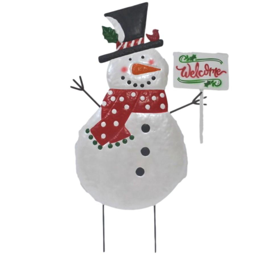 TIN SNOWMAN WITH SCARF & WELCOME SIGN YARD ART CS. PK.: 6