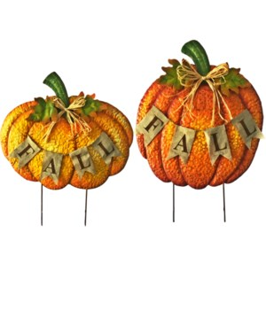 "TIN ""FALL"" PUMPKIN YARD ART 2 ASST. CS. PK.: 12"