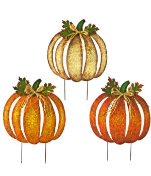 TIN CUT OUT PUMPKIN YARD ART 3 ASST. CS. PK.: 12