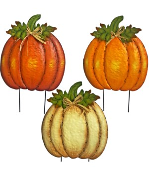 3 ASST. TIN METAL PUMPKINS WITH RAFFIA YARD ART CS. PK. 12
