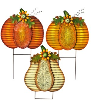 3 ASST. TIN PRESSED METAL PUMPKIN YARD ART CS. PK.: 12