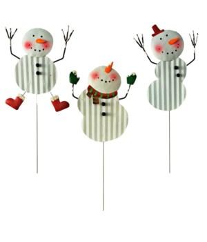 3 ASST. TIN SNOWMAN PICKS CS. PK.: 48