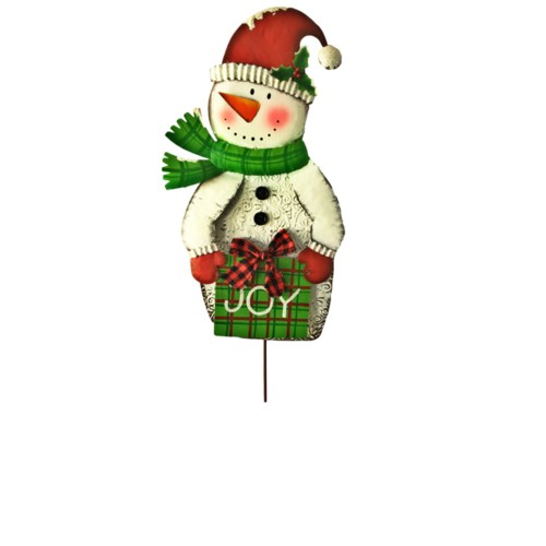 2 ASST. TIN RUSTIC SNOWMAN LAWN STAKES CS. PK.: 12