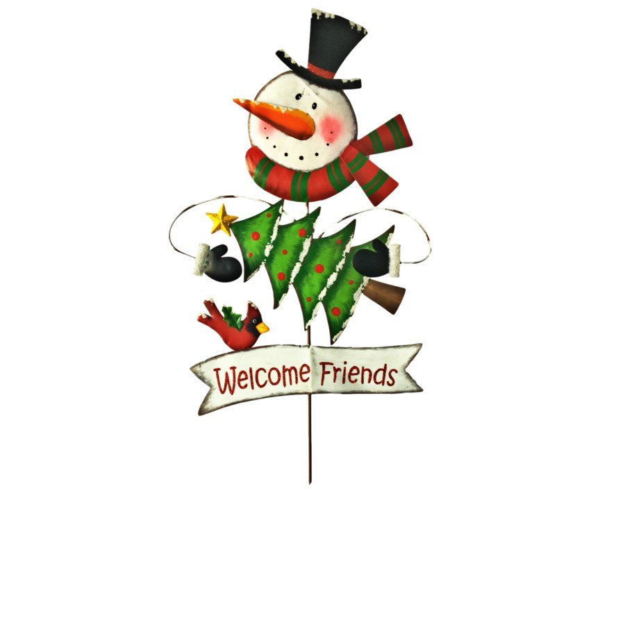 2 ASST. TIN SNOWMAN/SANTA WELCOME LAWN SATKE CS. PK.: 12