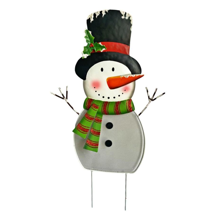 3 ASST. TIN SNOWMAN W/HAT YARD ART CS. PK.: 12