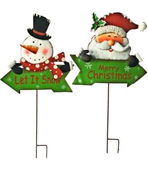 2 ASST. TIN CHRISTMAS ARROW SIGN CS. PK.: 12
