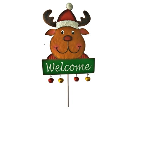 TIN WELCOME REINDEER LAWN STAKE CS. PK.: 12