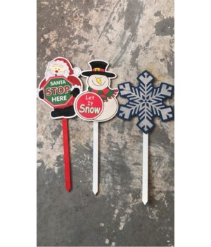 3 ASST. GLITTER WOOD CHRISTMAS PICKS CS. PK.: 48