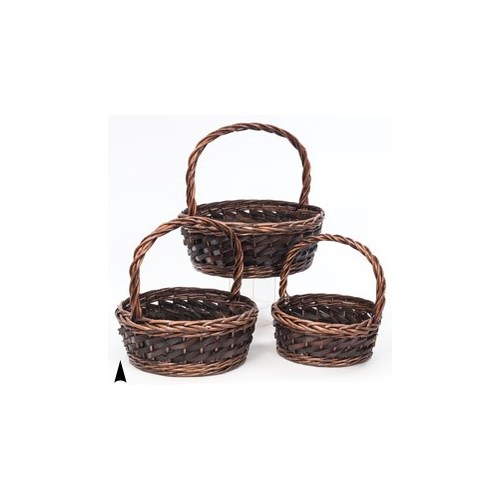 19/1643 S/3 ROUND WILLOW AND WOOD BASKETS CS. PK.: 8