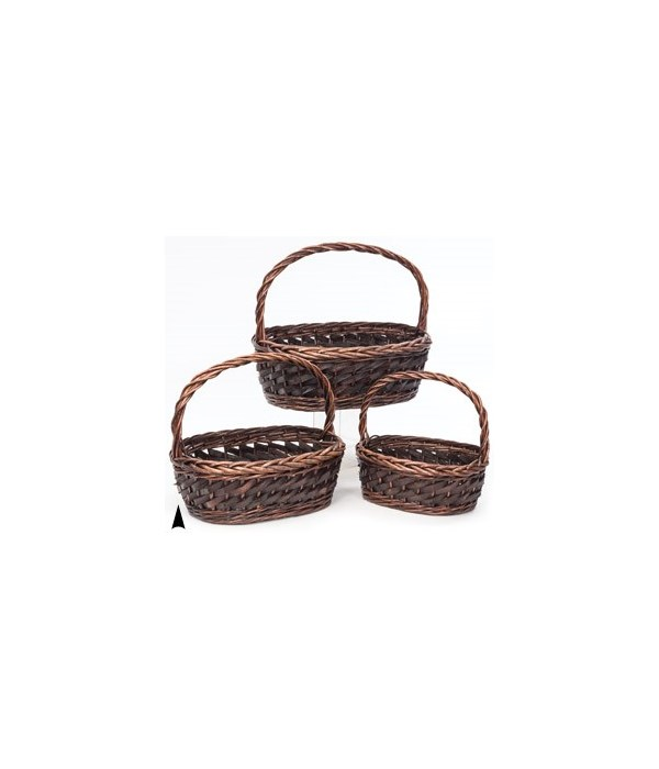 19/1644 S/3 OVAL WILLOW AND WOOD BASKETS CS. PK.: 8
