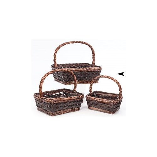 19/1645 S/3 OBLONG WILLOW AND WOOD BASKETS CS. PK.: 8